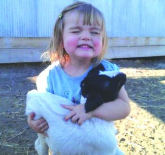 Morgan Lee can barely contain her excitement as she clings on to the kid goat she finally caught. Photo by Carissa Lee