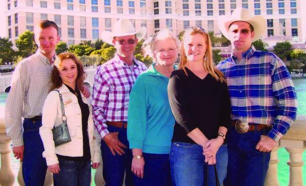 Third-and-fourth generation Star-X Ranch family members: Judd and Tawny Stark, Turk and Toni Stark, Amanda and Jay Berg. Courtesy photo Stark family