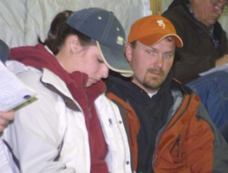Beth and Cody Baloun of Highmore, SD purchase bulls and heifers at the 3C Christensen, NLC Simmental sale.