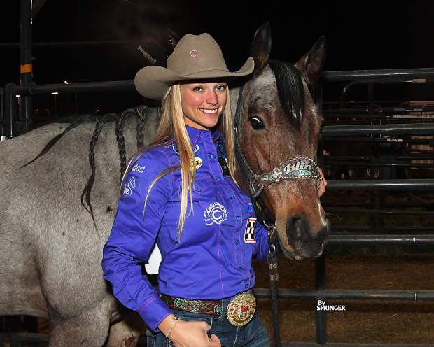 Sarah Rose McDonald, the Georgia barrel racer who fans have come to expect at the Wrangler National Finals, lost her horse, Bling, last week. Bling is out of Fulton's A Streak of Fling. Photo by Kenneth Springer