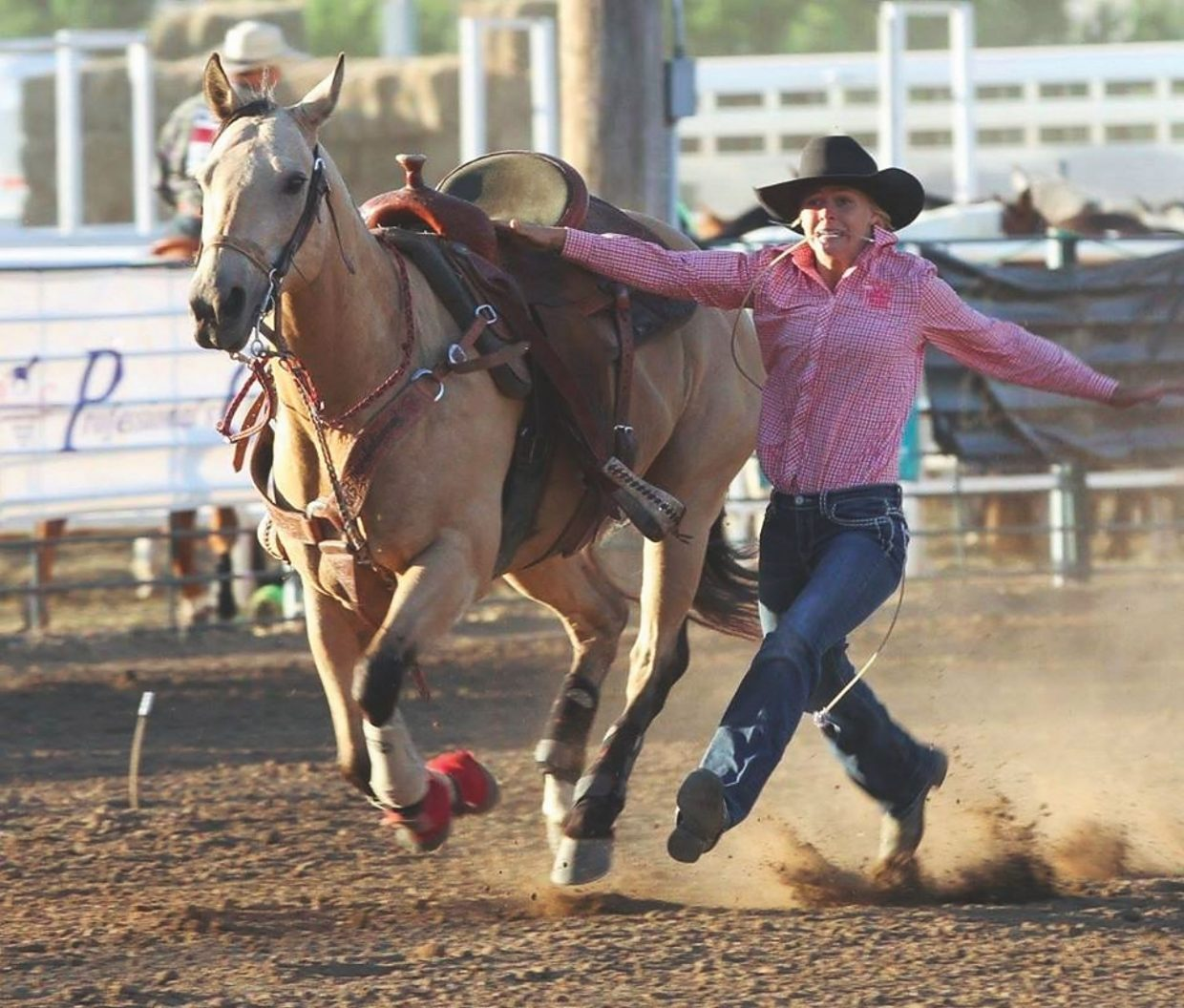 Emilee Pauley will represent South Dakota in goat tying at the National High School Finals in Gillette, Wyoming, July 16-22. Photo by Loretta Monnens