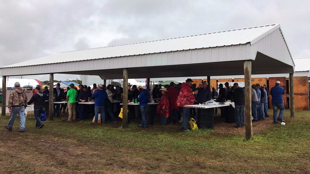 Crowds gathered at Dakotafest to listen to the state's congressional leaders and to enjoy beef sandwiches served by the South Dakota Hereford Association and South Dakota Cattlemen's Association.