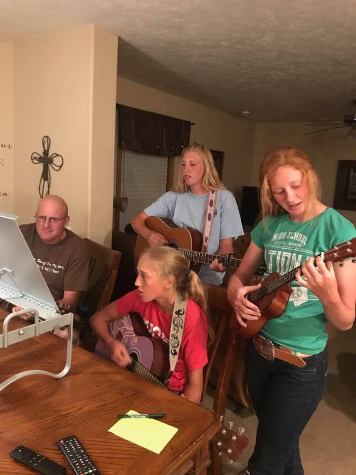 Vern was back home playing music with his girls.