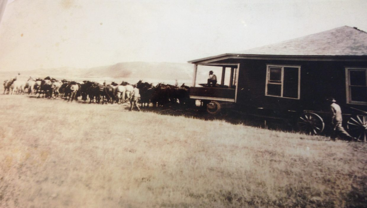 Moving the old Shockley house in 1930 from Brownlee, Nebraska. Courtesy photo.