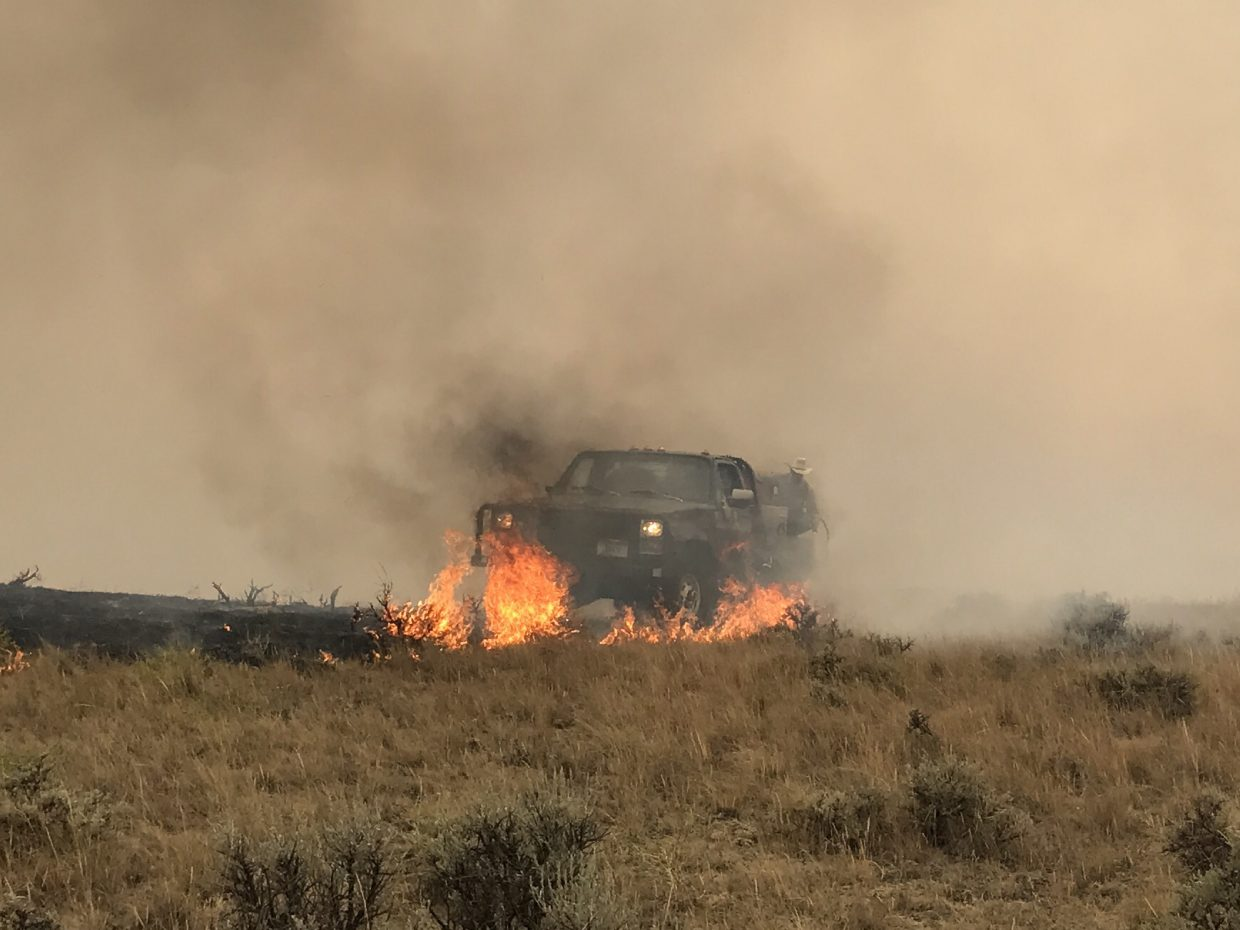 Fighting fire near Sand Spring, Montana. Photo by Mary Brown.
