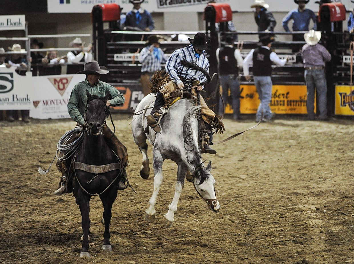 Lance Hladky put up a 76-point bronc ride, kicking off a successful ranch rodeo for the Bootheel 7/Hageman Ranch team at the 50th Annual NILE. Photos by Savanna Simmons