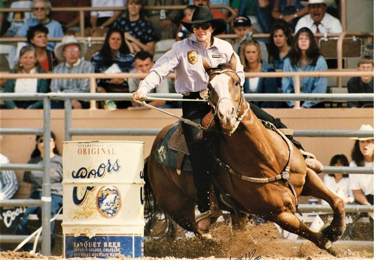 One of Casey's Ladylove's more famous offspring is French Flash Hawk. The horse, known as Bozo to the rodeo world, was ridden to four-time WPRA World Champion by Kristie Peterson. Photo courtesy PRCA