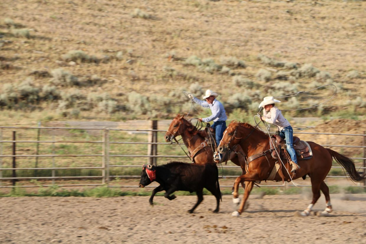 Lucas Stolhammer and his son Connor rope on home-raised Cee Heart Quarter Horses. Photo courtesy Chord family