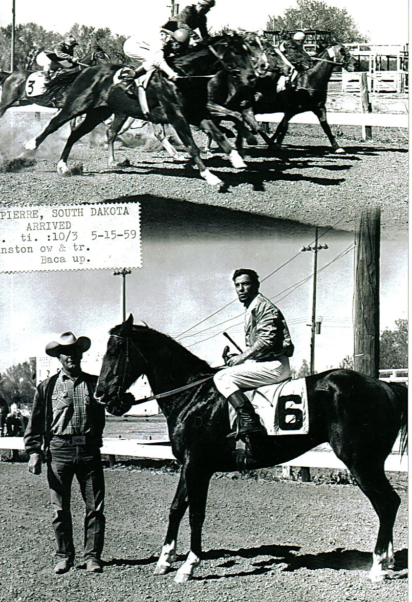The Johnstons were even successful in the racing business. This photo was taken after Arrived, a 1955 gelding, won a race in Pierre, South Dakota in 1959. Photos courtesy Randy Johnston
