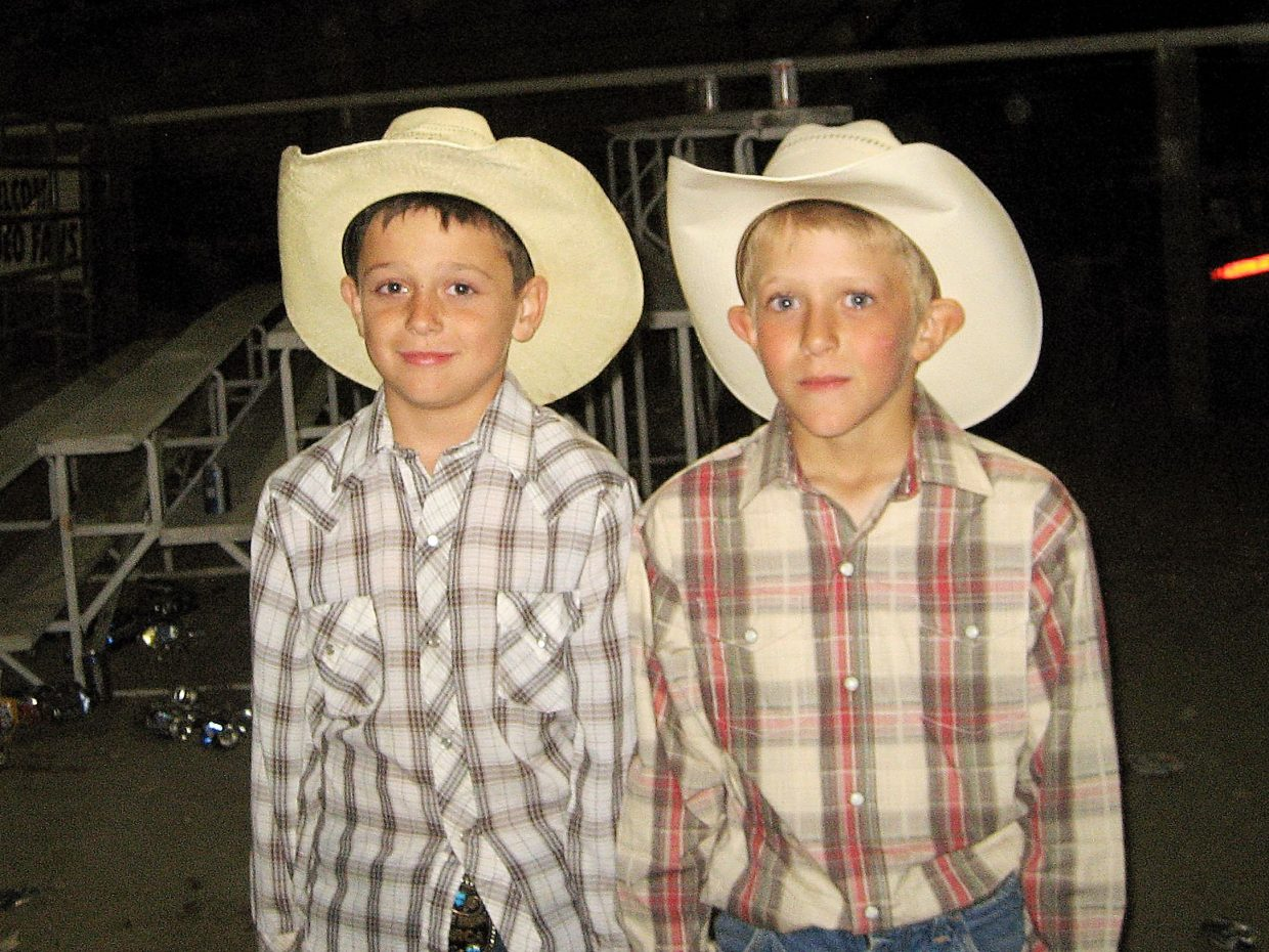 Long time best friends Cash Wilson, left, and Pedro Dennis both got their start riding mini broncs at the Philip Bronc Match in Philip, South Dakota. Photo courtesy of the Wilson family