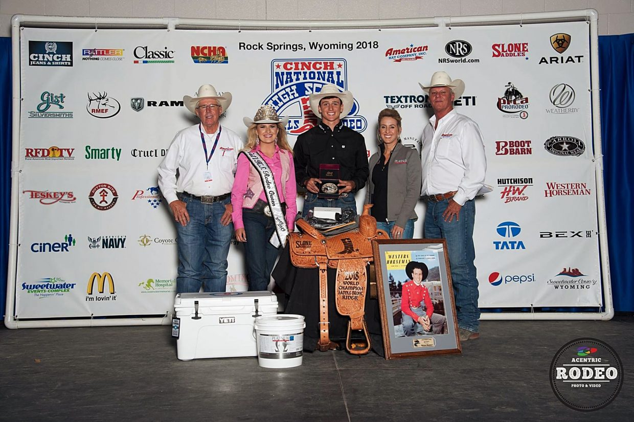 In addition to a $1600 scholarship, Cash Wilson walked away with numerous prizes for capturing the National High School Rodeo Association Saddle Bronc Championship. Photo by Acentric Rodeo