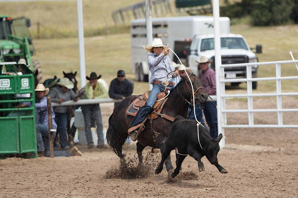 Fresh calves at the Haythorn Ranch kept the roping interesting. Photo by Emily McCartney Photography.