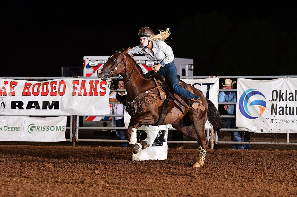 Caroline Kelly is one of the Junior American qualifiers who competed at the International Finals Youth Rodeo in Shawnee, Okla. in July. Photo courtesy IFYR/RodeoBum.com