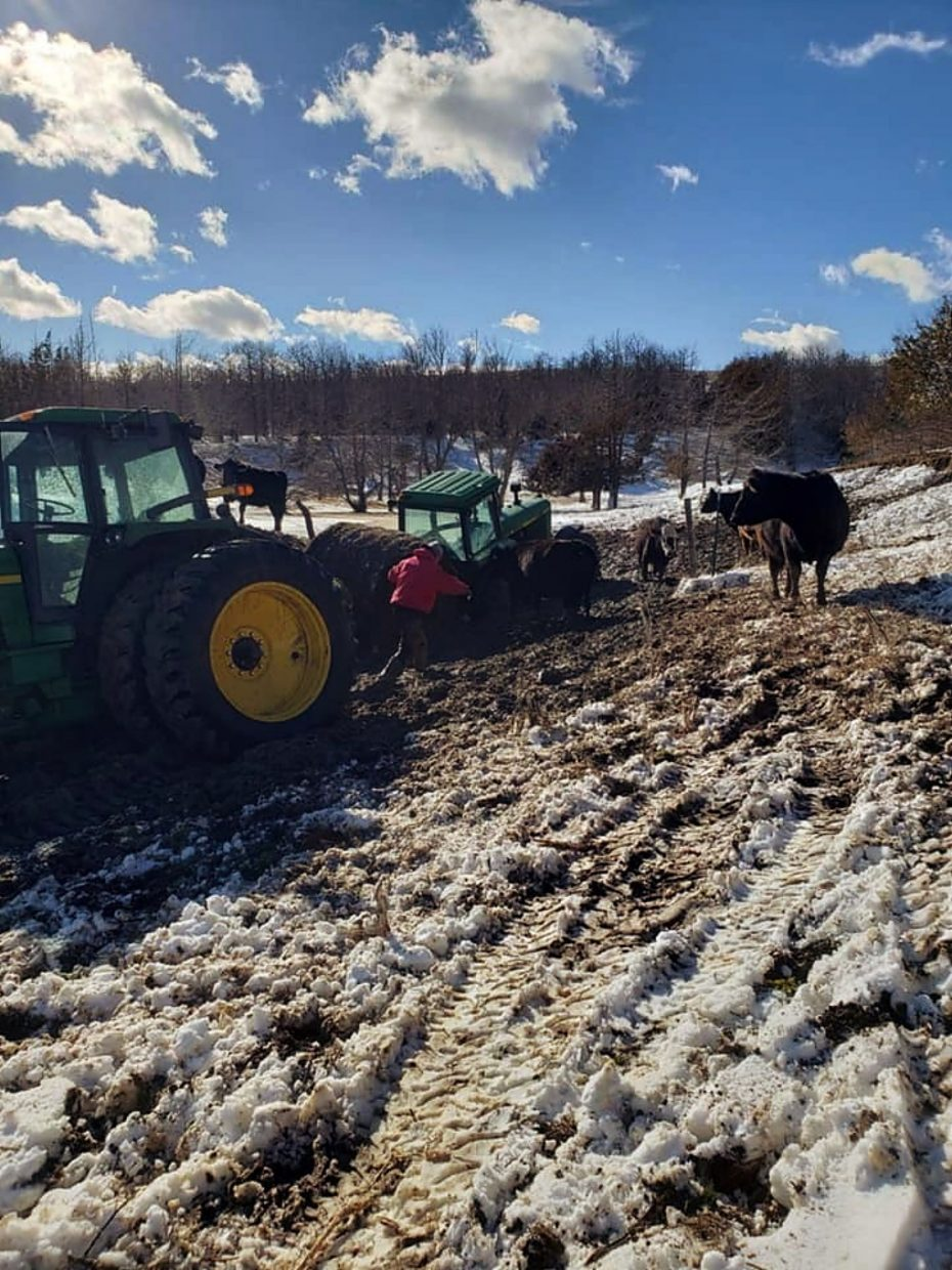 Attempting to pull a tractor out of the mud. Photo by Karina Jones.