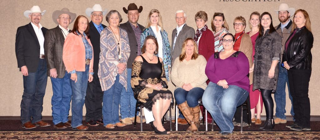 President Kristen Gonsoir, Groton; Vice-President /Treasurer Jodie Svennes, Brandt; and Secretary/Webmaster Victoria Cuka, Vale. (Standing) AQHA National Directors Larry Larson, Rapid City; Jim Hootman, Harrisburg; Georga Sutton, Gettysburg (Honorary Vice-President); Jim Hunt, Faith; Janet Hansen, Fort Pierre; Dean Johnson, Mud Butte; and Debbi Holmes Stockstill, Virgil.  SDQHA State Directors Bob Quickstad, Whitewood; Penny Petersen, Mitchell; Sheila Prins, Sisseton; Shirley Wetz, Vale; Joellen Miller, Houghton; Sheila Price, Reliance; Troy Crowser, Whitewood; and Dede Cuka, Wagner.